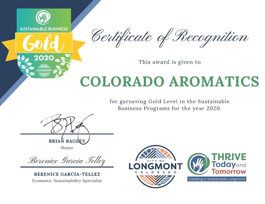 Sustainable Longmont Certificate